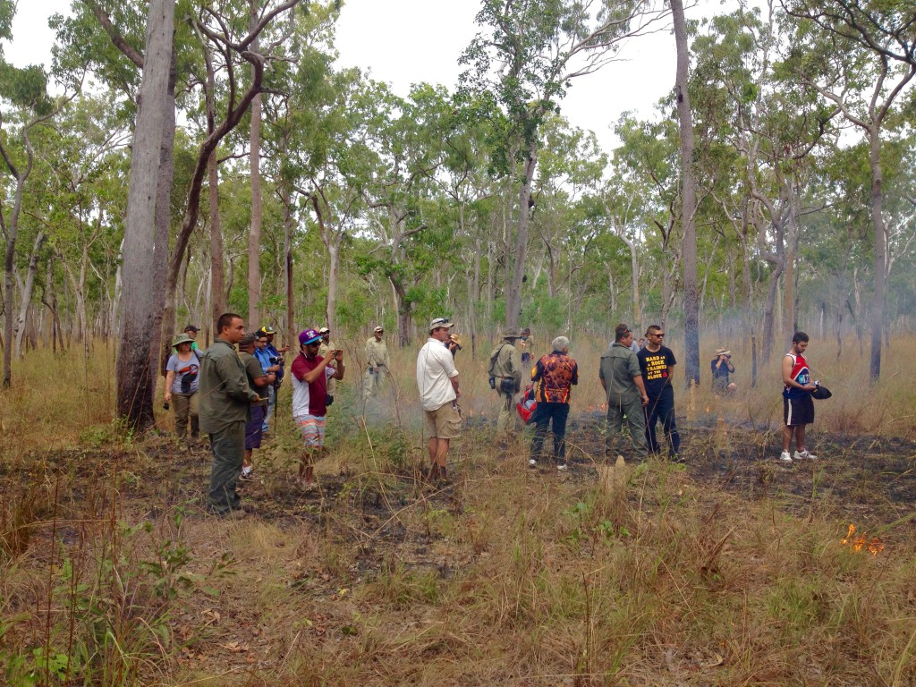 Community, rangers and rural fire service on country at a fire workshop in Cape York.