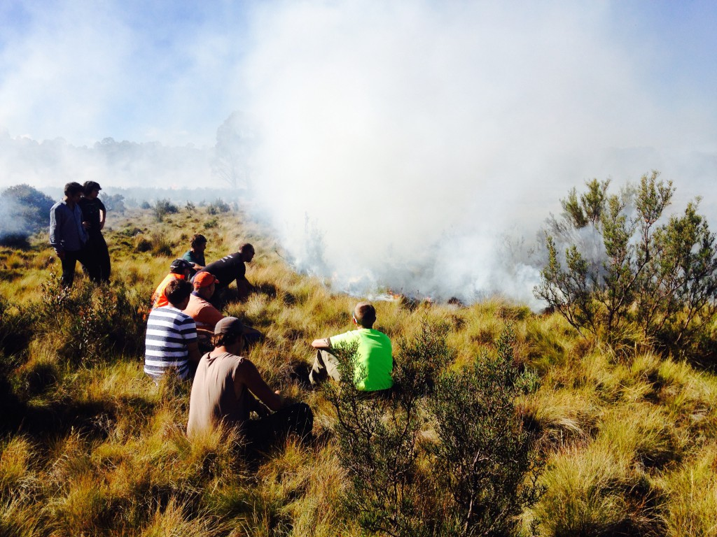 Tasmanian Aboriginal Fire Group enjoy the good work of the fire.